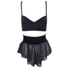 1980's Dolce & Gabbana Black Velvet Bra Top & Sheer Black Silk Shorts Set 40 XS