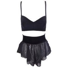 1980's Dolce & Gabbana Black Velvet Bra Top & Sheer Black Silk Shorts Set 42 XS