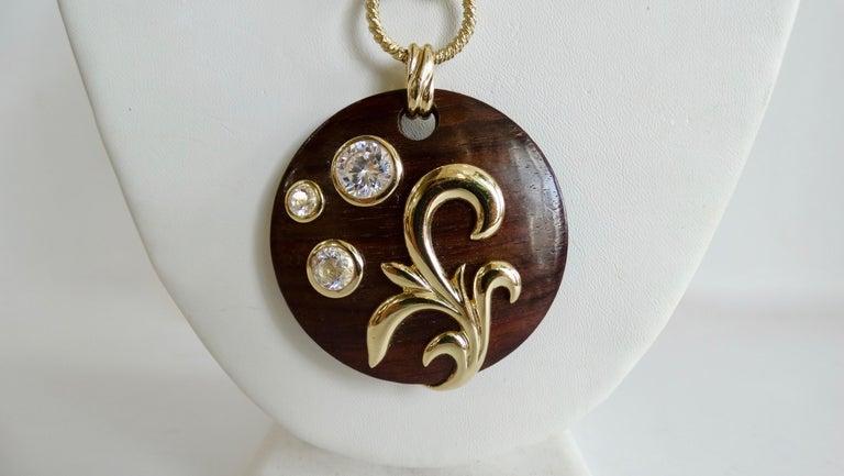 Dominique Aurientis 1980s Wood Pendant Necklace  In Good Condition For Sale In Scottsdale, AZ