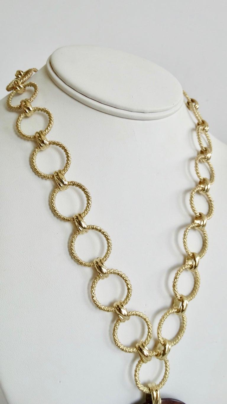 Women's or Men's Dominique Aurientis 1980s Wood Pendant Necklace  For Sale