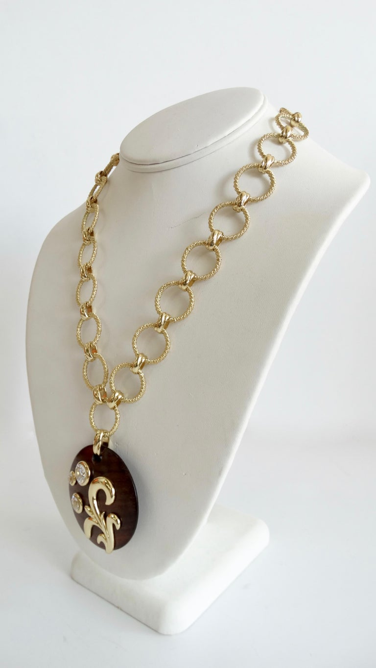 Dominique Aurientis 1980s Wood Pendant Necklace  For Sale 3