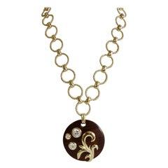 1980s Dominique Aurientis Wood Pendant Necklace