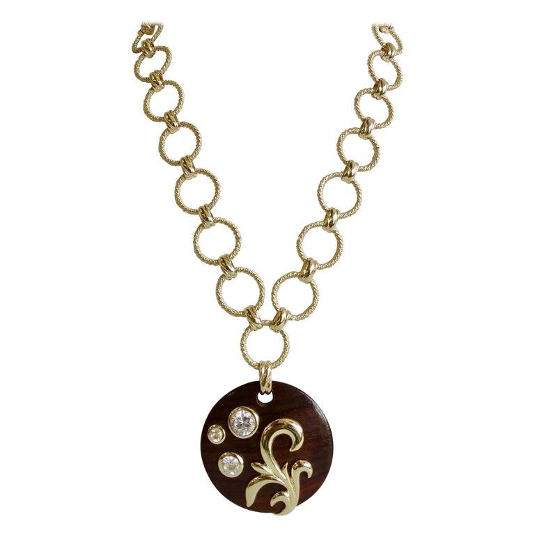 Dominique Aurientis 1980s Wood Pendant Necklace  For Sale