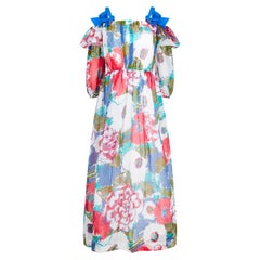 1980s Donald Campbell Printed Floral Cotton Organdy Maxi Dress