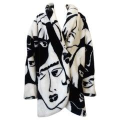 1980s DonnyBrook Art Deco Face Motif Coat