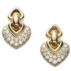 1980s Doppio Cuori Diamond and 18 Carat Yellow Gold Earrings by Bvlgari