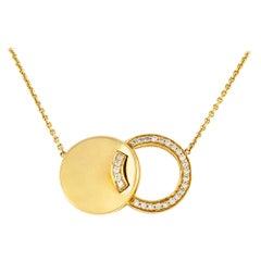 1980s Double Circles Pendant with Diamonds Pendant