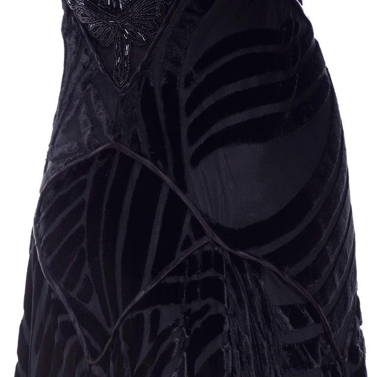 1980s Dramatic Burnout Velvet Beaded Black Evening Dress W/ Handkerchief Hem For Sale 11