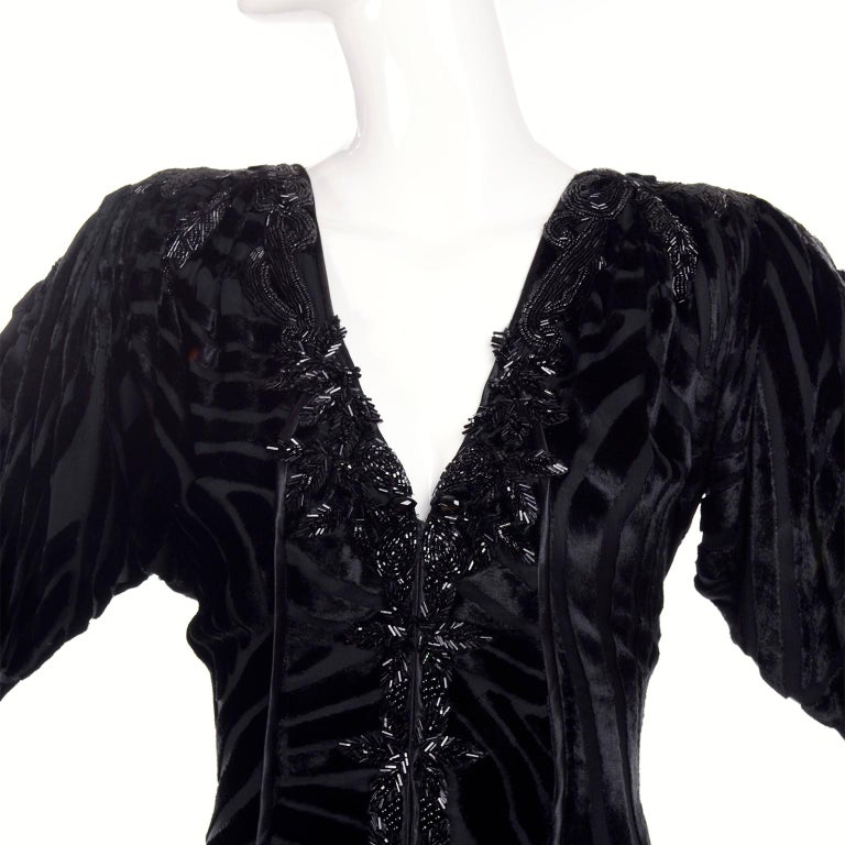 1980s Dramatic Burnout Velvet Beaded Black Evening Dress W/ Handkerchief Hem For Sale 3