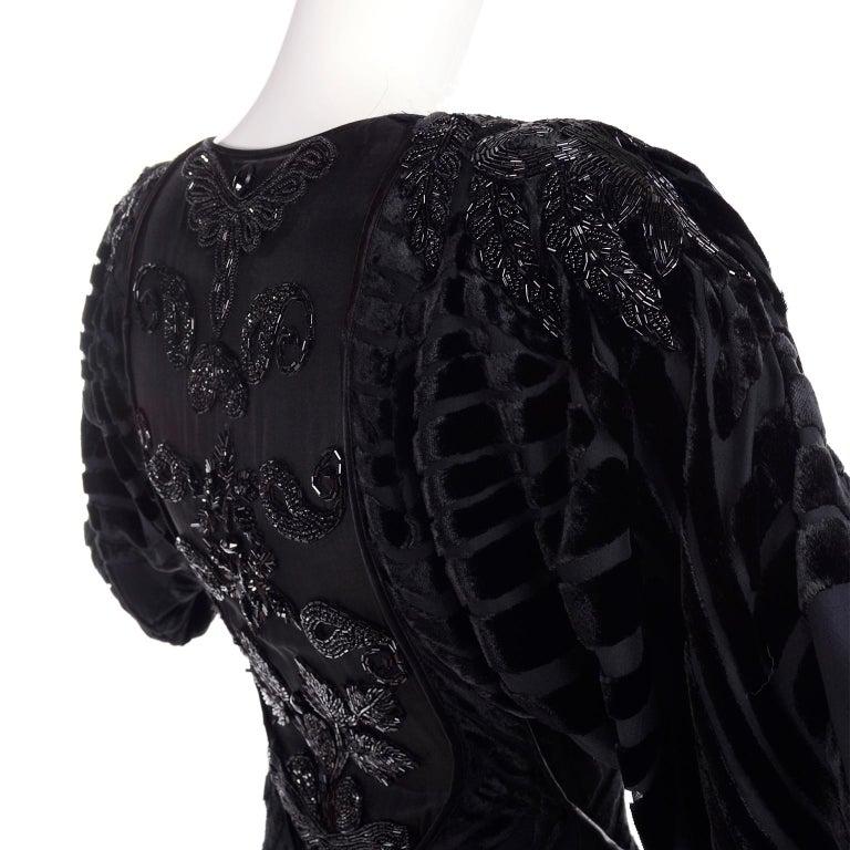 1980s Dramatic Burnout Velvet Beaded Black Evening Dress W/ Handkerchief Hem For Sale 9