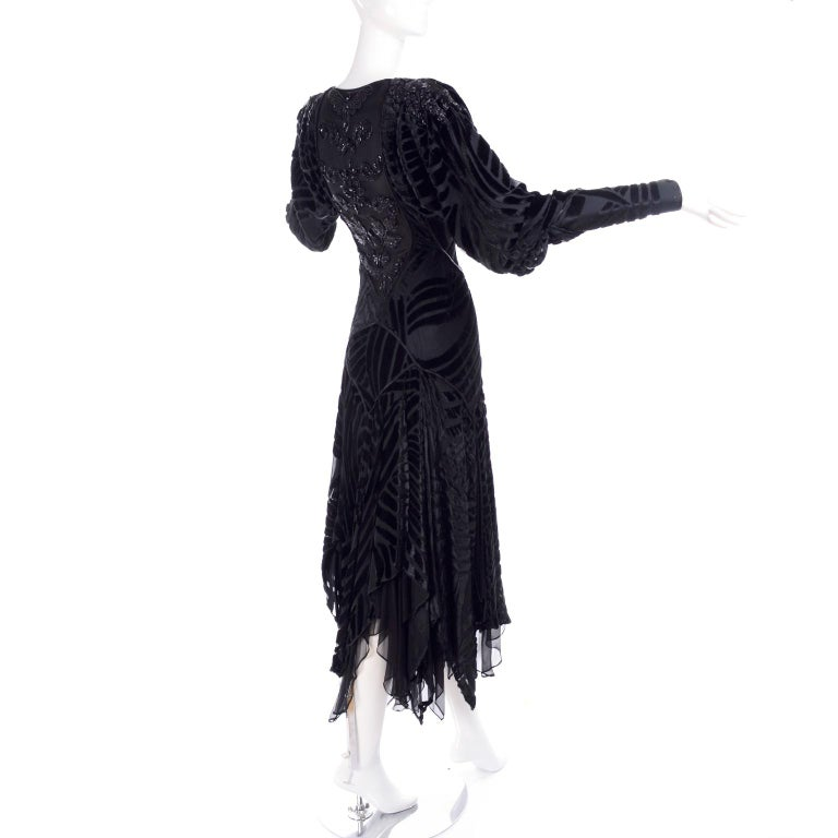 1980s Dramatic Burnout Velvet Beaded Black Evening Dress W/ Handkerchief Hem In Excellent Condition For Sale In Portland, OR