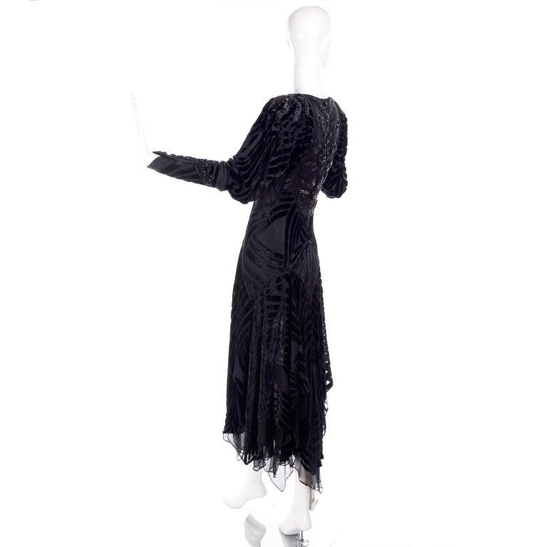 1980s Dramatic Burnout Velvet Beaded Black Evening Dress W/ Handkerchief Hem For Sale 1