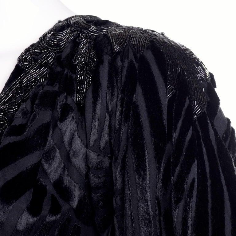 1980s Dramatic Burnout Velvet Beaded Black Evening Dress W/ Handkerchief Hem For Sale 10