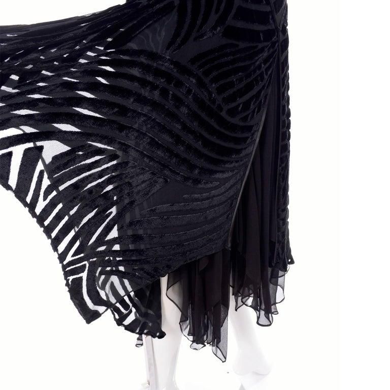 1980s Dramatic Burnout Velvet Beaded Black Evening Dress W/ Handkerchief Hem For Sale 13