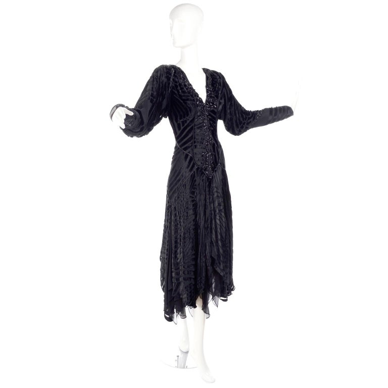 This gorgeous vintage black dress came from the estate of a woman who loved designer clothing. Her impressive wardrobe included rare designer pieces and many of her sensational mid to late century pieces were created by Givenchy, Bill Blass,