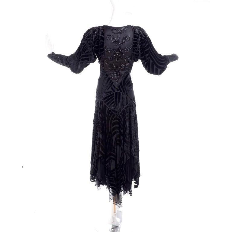 Women's 1980s Dramatic Burnout Velvet Beaded Black Evening Dress W/ Handkerchief Hem For Sale