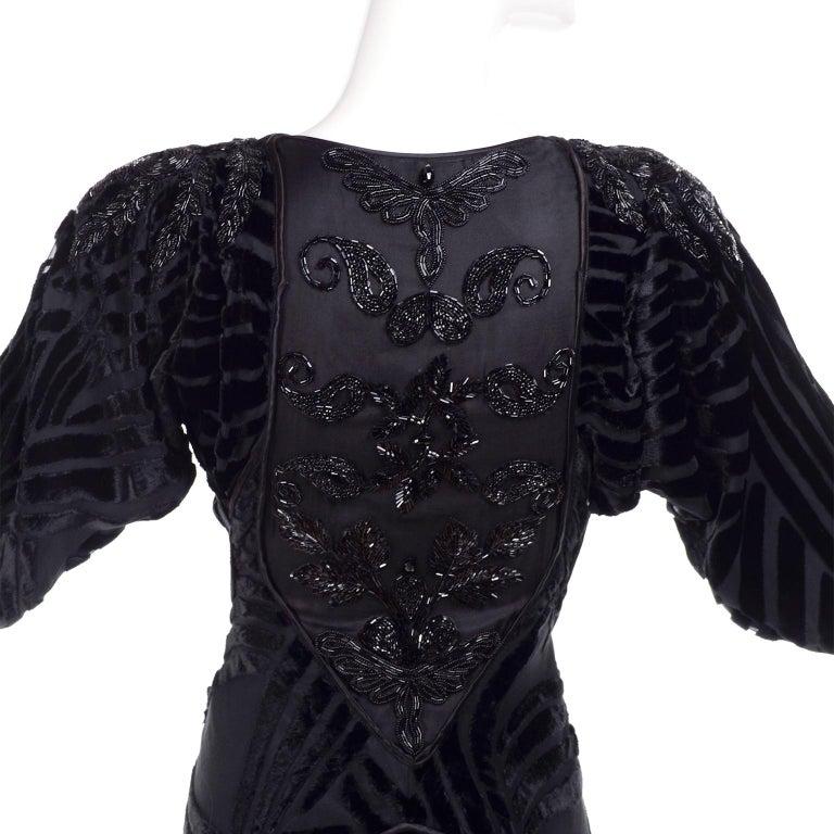 1980s Dramatic Burnout Velvet Beaded Black Evening Dress W/ Handkerchief Hem For Sale 4