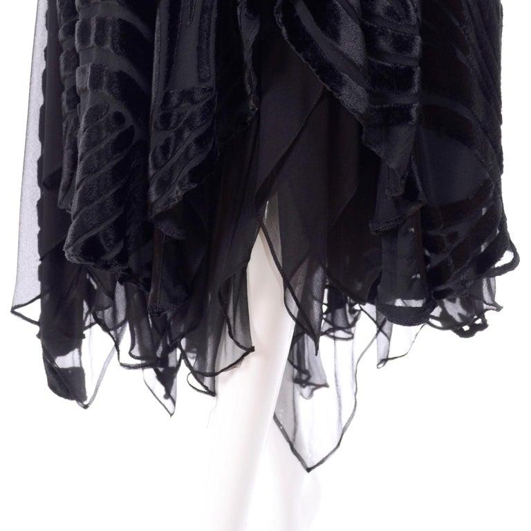 1980s Dramatic Burnout Velvet Beaded Black Evening Dress W/ Handkerchief Hem For Sale 12