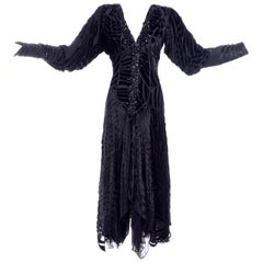 1980s Dramatic Burnout Velvet Beaded Black Evening Dress W/ Handkerchief Hem