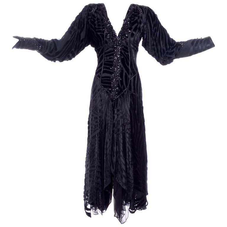 1980s Dramatic Burnout Velvet Beaded Black Evening Dress W/ Handkerchief Hem For Sale
