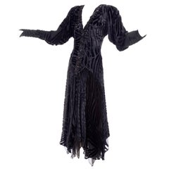1980s Dramatic Burnout Velvet Beaded Black Evening Dress W/ Handkerchief Hem