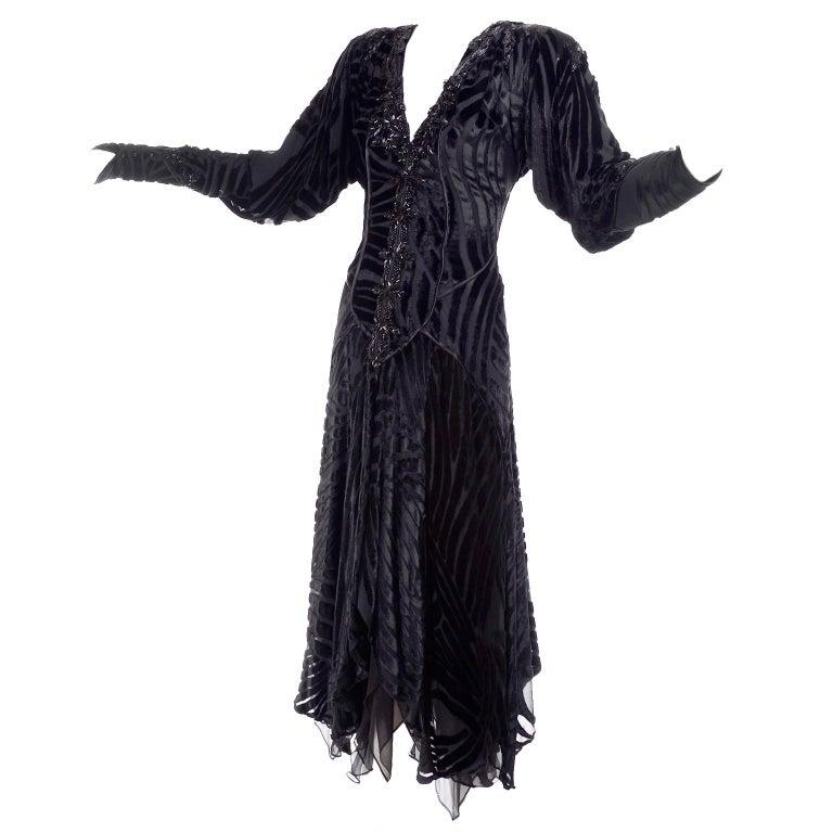 1980s Dramatic Burnout Velvet Beaded Black Evening Dress W/ Handkerchief Hem For Sale 2