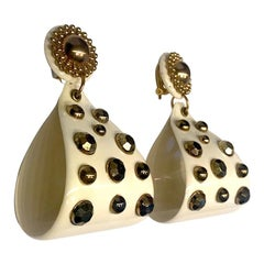 1980s Dramatic White Resin & Gold Stud Pendant Earrings