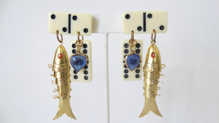 1980s Eclectic Domino Charm Statement Earrings  For Sale 1