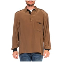 1980S EDGON HEATH Oyster Grey Silk Crepe De Chine Long Sleeve Men's Shirt With