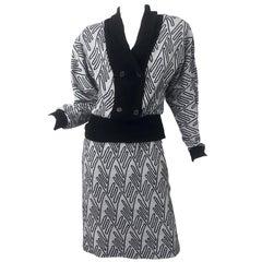1980s Egon Von Furstenberg Black + Grey Abstract Print Vintage 80s Sweater Dress