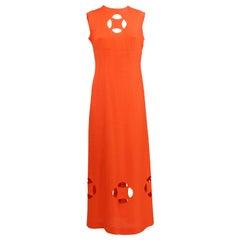 1980s Ein Fink Modell Orange Mid - Length Dress