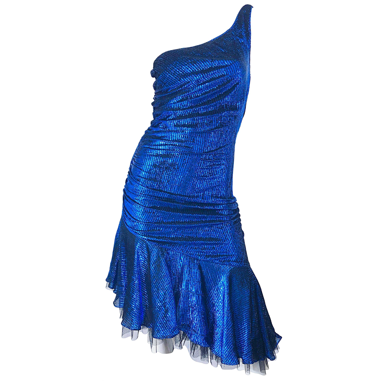 1980s Electric Blue + Black One Shoulder Metallic One Shoulder Vintage 80s Dress