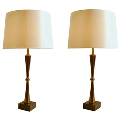 French Table Lamps in Bronze / Brass on Marble Black Bases