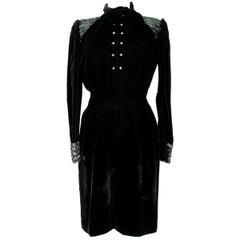 1980s Emanuel Ungaro Black Sequins Swaroski Silk Velvet Evening Dress