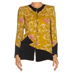 1980S EMANUEL UNGARO Green Silk Jacquard Asian Printed Top With Gold Buttons