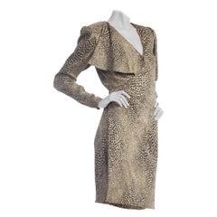 1980S EMANUEL UNGARO Metallic Silk Lamé Cheetah Print Wrap Cocktail Dress
