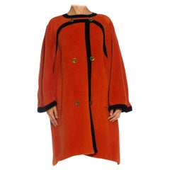 1980S EMANUEL UNGARO Orange Haute Couture Mohair Wool Coat Lined In Electric Bl