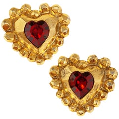 1980s Emanuel Ungaro Oversized Gilded Heart Statement Earrings with Ruby Crystal