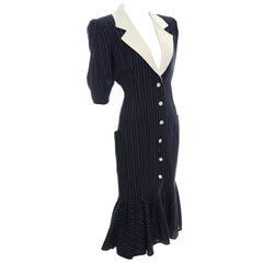 1980s Emanuel Ungaro Parallele Vintage Dress in Navy Blue & White Wool Crepe