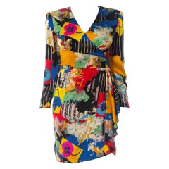 1980S EMANUEL UNGARO Printed Silk Charmeuse Day To Cocktail Dress