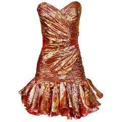 1980s Emanuel Ungaro Strapless Coral & Metallic Gold Mini Dress