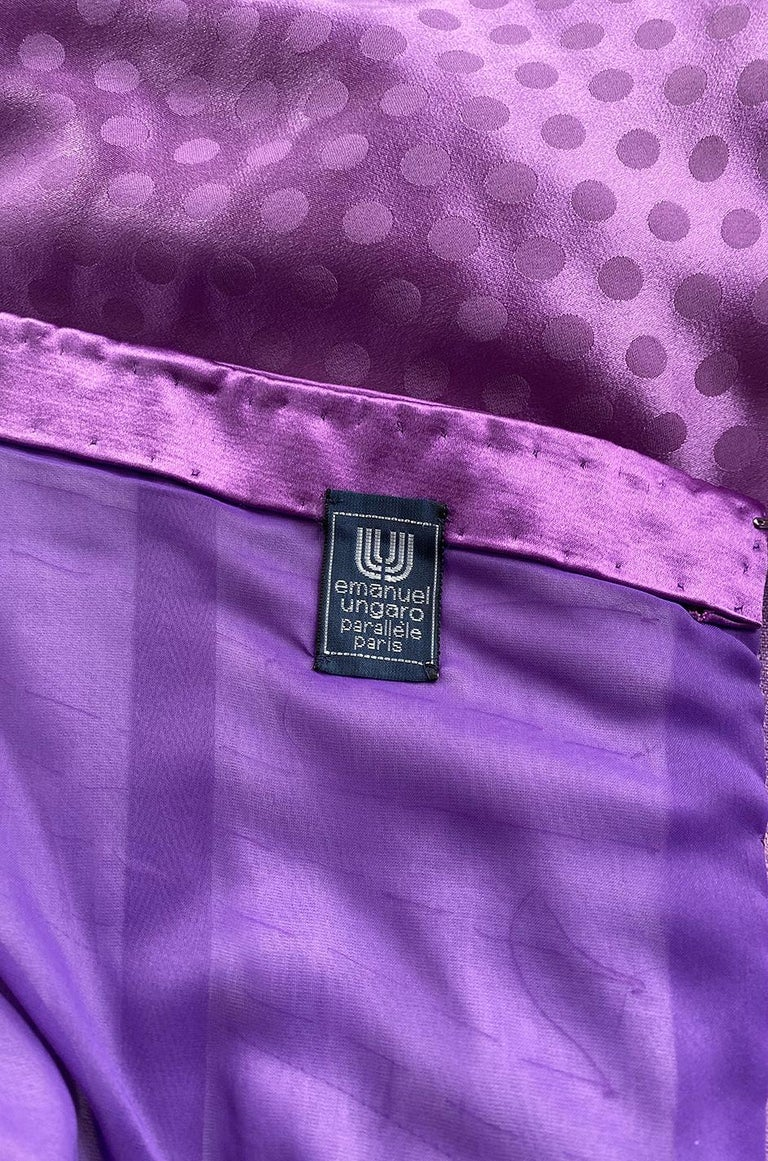 1980s Emanuel Ungaro Strapless Dotted Purple Fluid Silk Dress For Sale 8