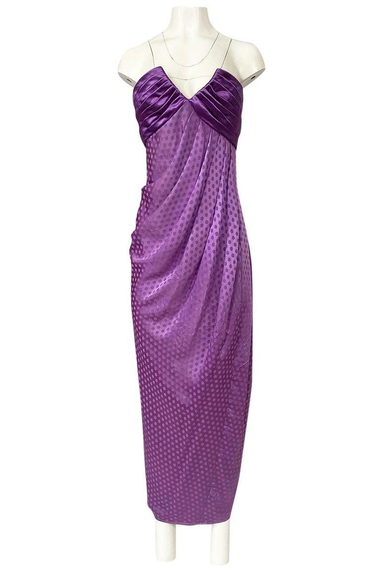 Women's 1980s Emanuel Ungaro Strapless Dotted Purple Fluid Silk Dress For Sale