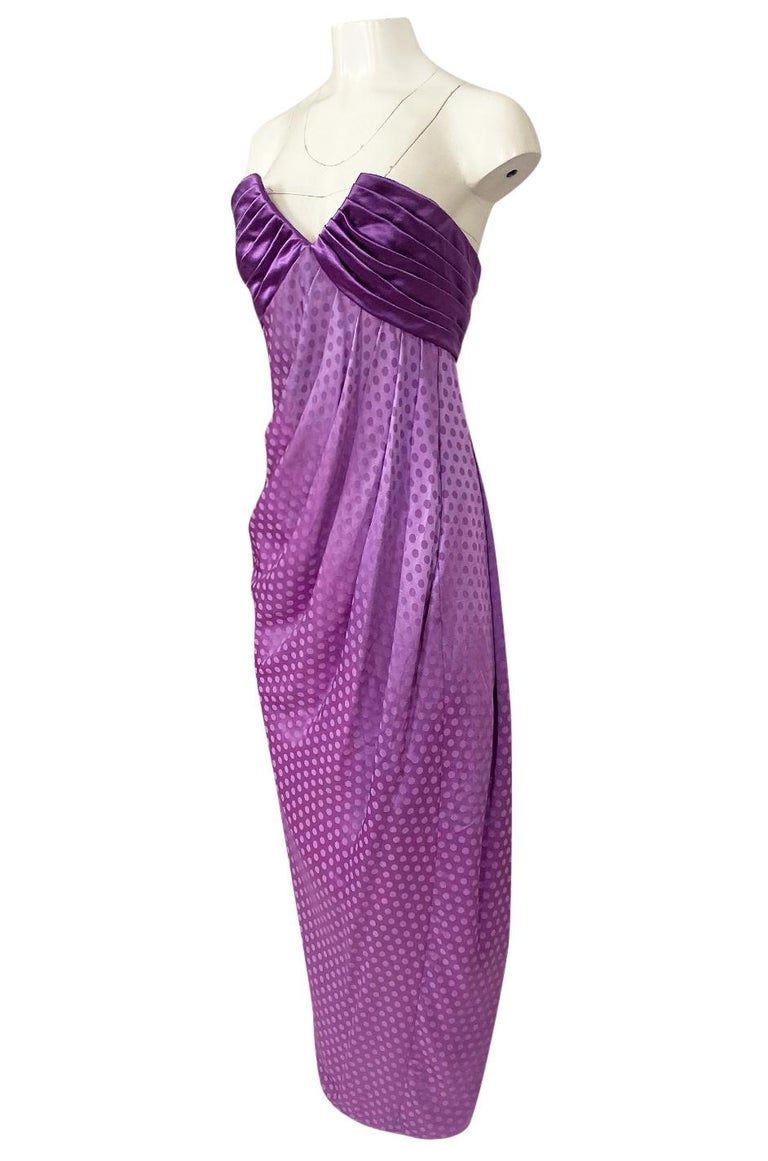1980s Emanuel Ungaro Strapless Dotted Purple Fluid Silk Dress For Sale 1