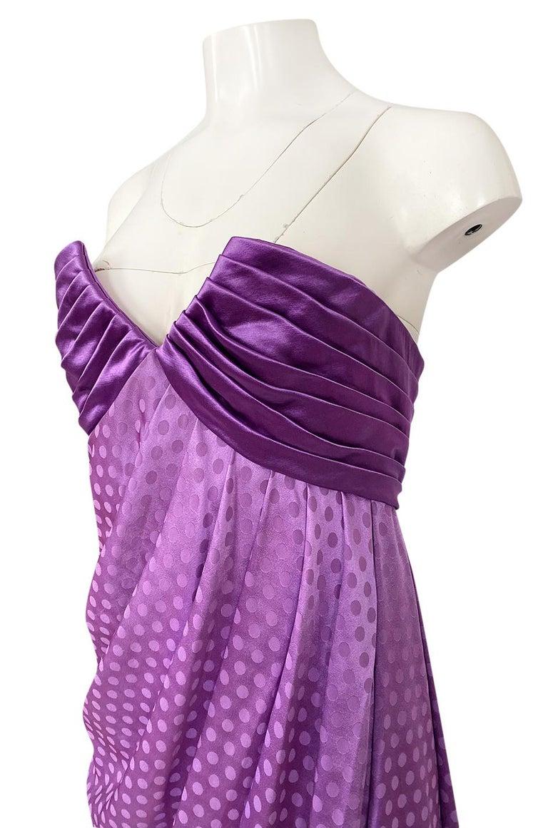 1980s Emanuel Ungaro Strapless Dotted Purple Fluid Silk Dress For Sale 4