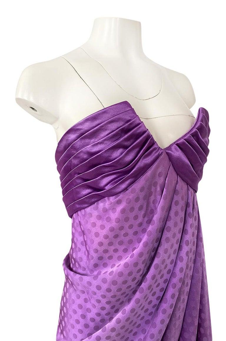 1980s Emanuel Ungaro Strapless Dotted Purple Fluid Silk Dress For Sale 5