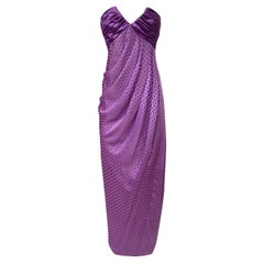 1980s Emanuel Ungaro Strapless Dotted Purple Fluid Silk Dress