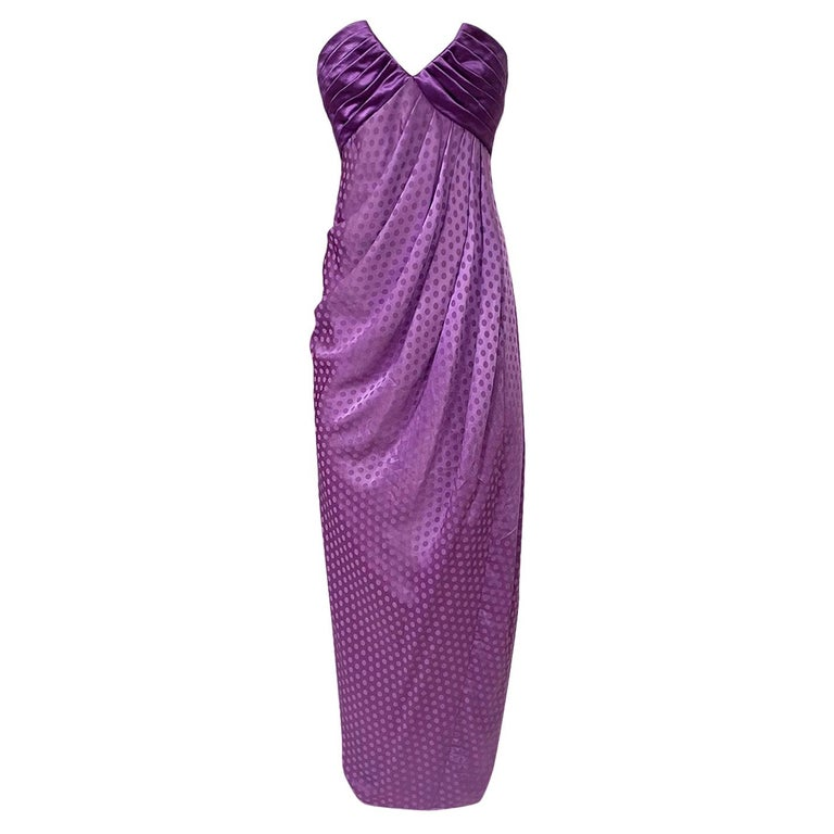 1980s Emanuel Ungaro Strapless Dotted Purple Fluid Silk Dress For Sale