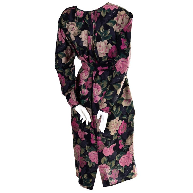 1980s Emanuel Ungaro Vintage Floral Dress 46/12 Sash Scarf In Excellent Condition For Sale In Portland, OR
