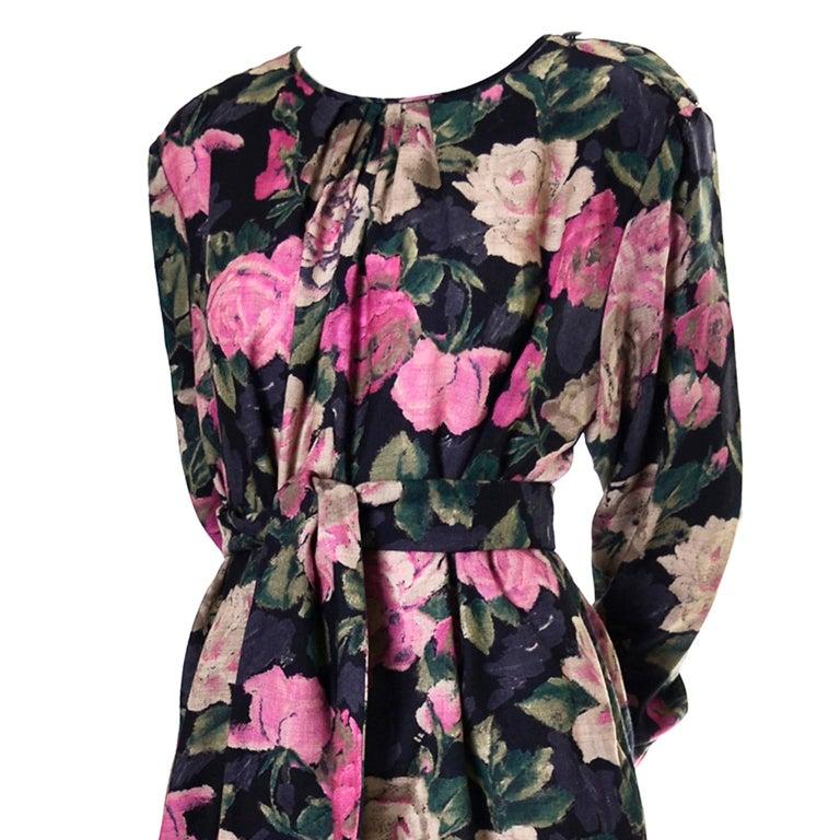 Women's 1980s Emanuel Ungaro Vintage Floral Dress 46/12 Sash Scarf For Sale